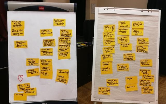 A beszélgetés során felmerült ötleteket tartalmazó papírok összegyűjtve és két táblára ragasztva